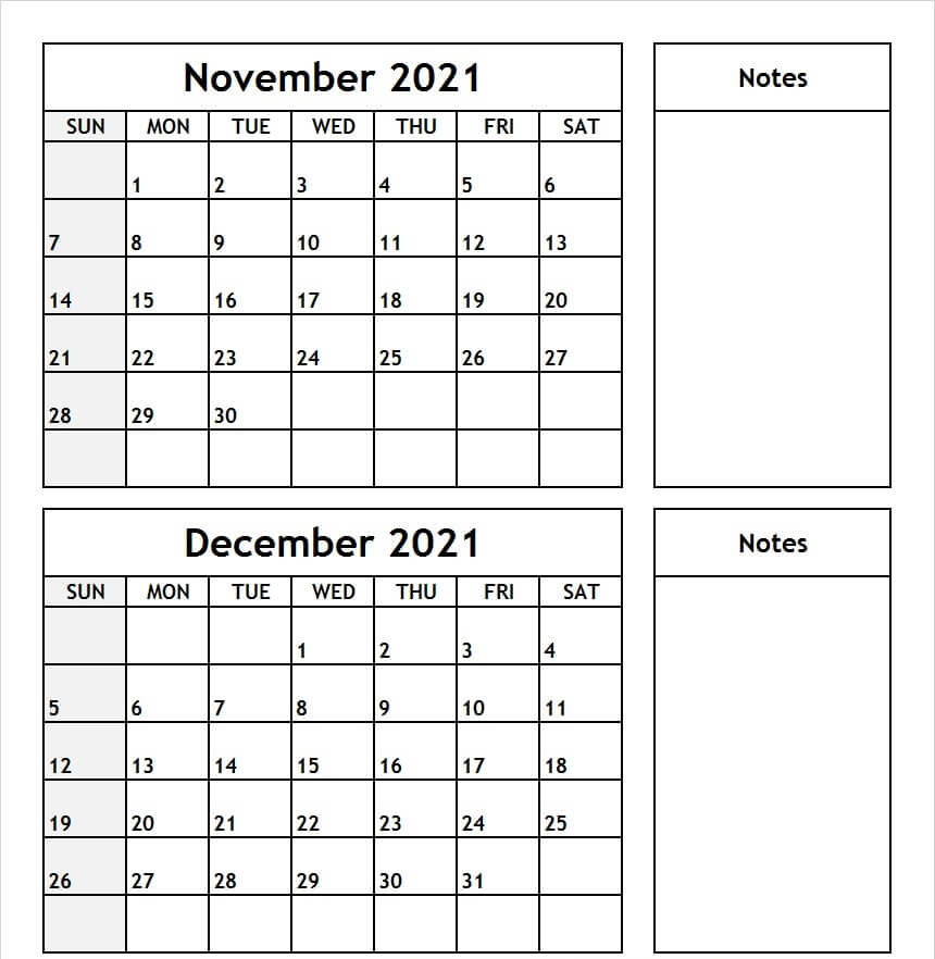November December 2021 Printable Calendar