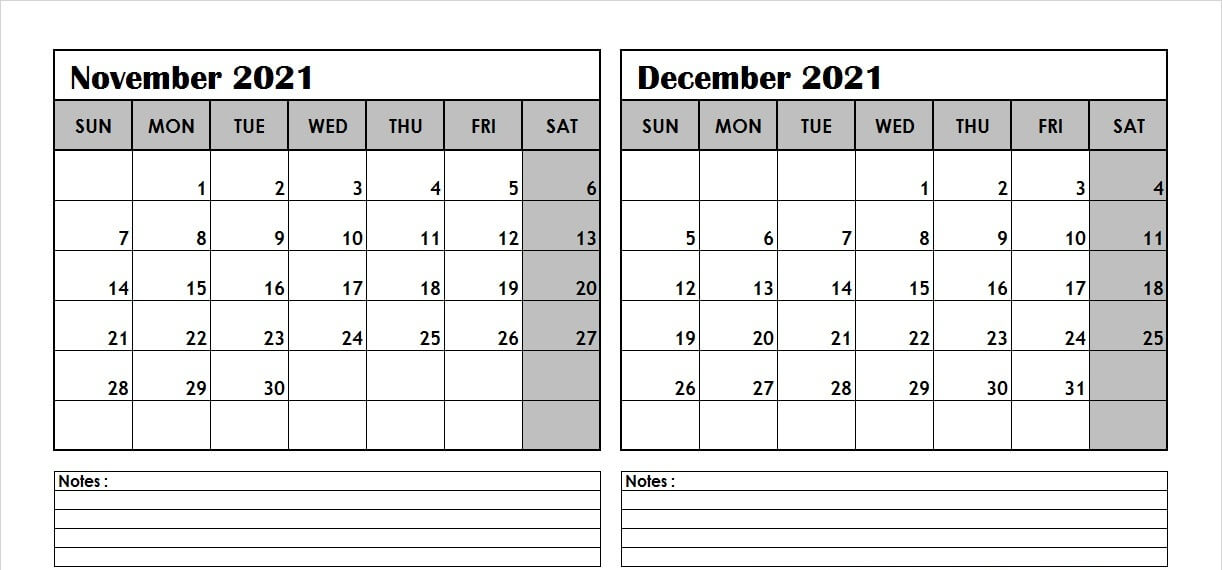 November December Calendar 2021 with Notes