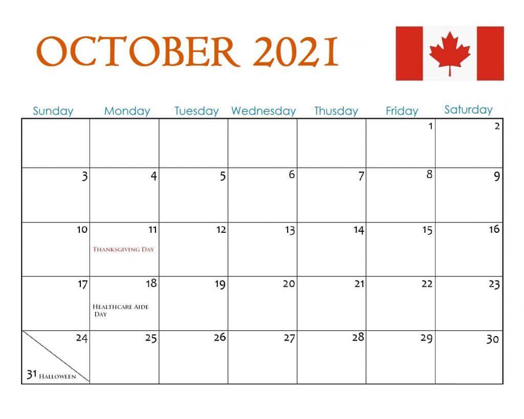 October 2021 Canada Holidays Calendar