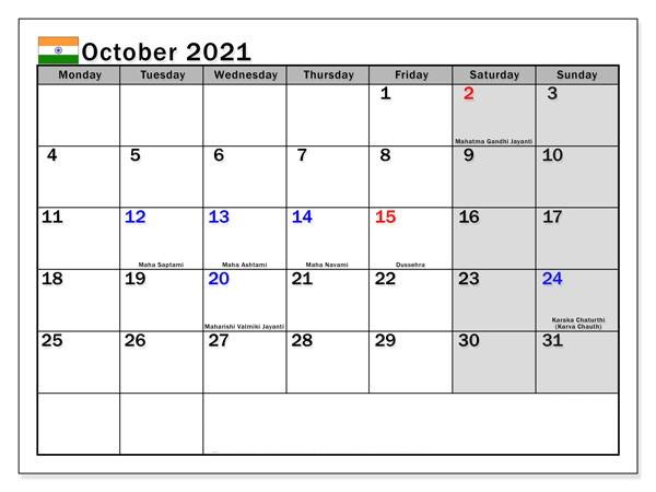 October 2021 India Holidays Calendar