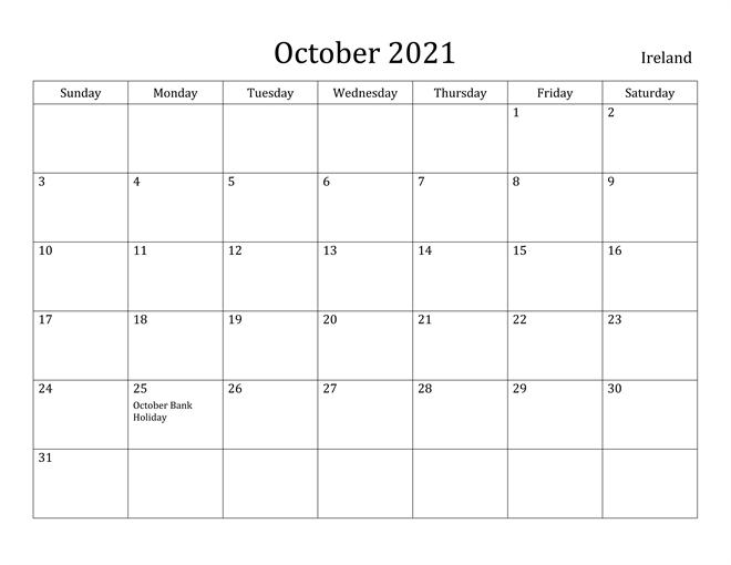 October 2021 Ireland Holidays Calendar