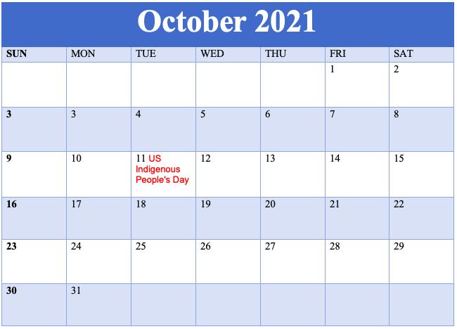 Online October 2021 Holidays Calendar
