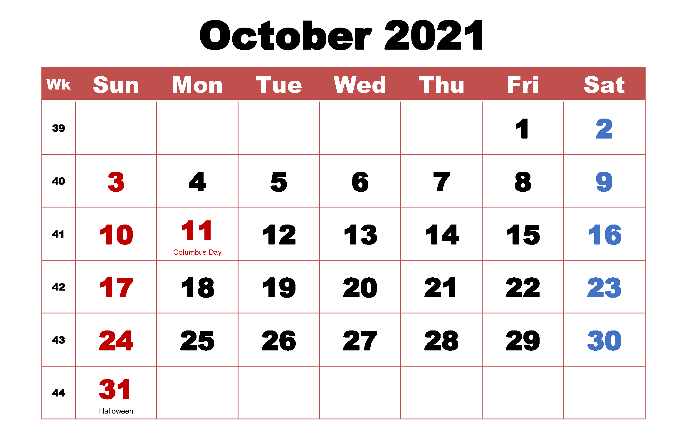 Printable October 2021 Holidays Calendar
