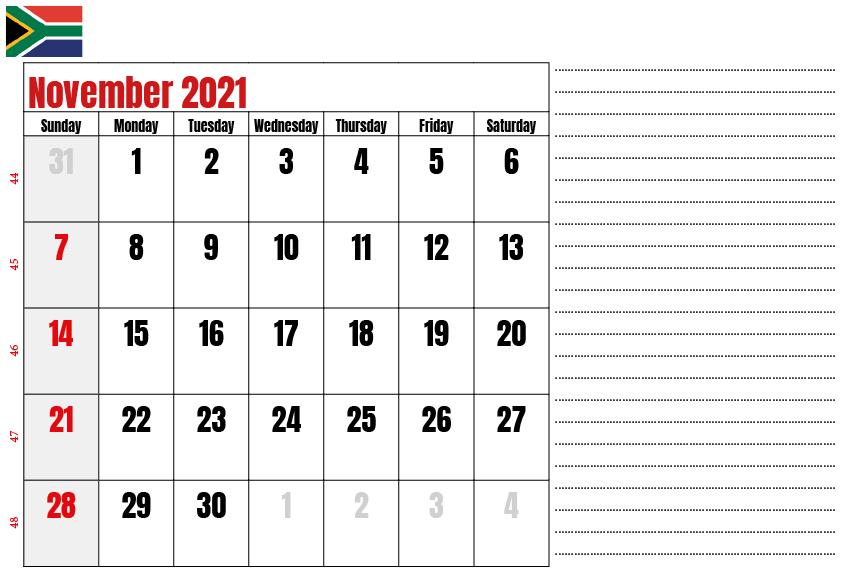 South Africa November 2021 Holidays Calendar