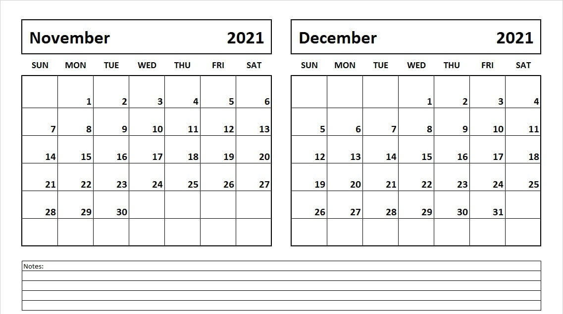 november and december 2021 Calendar