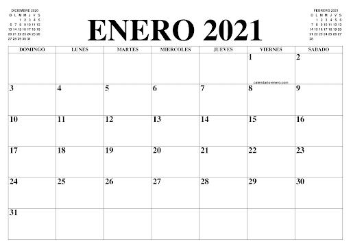 Calendario Enero 2021 Para Imprimir PDF