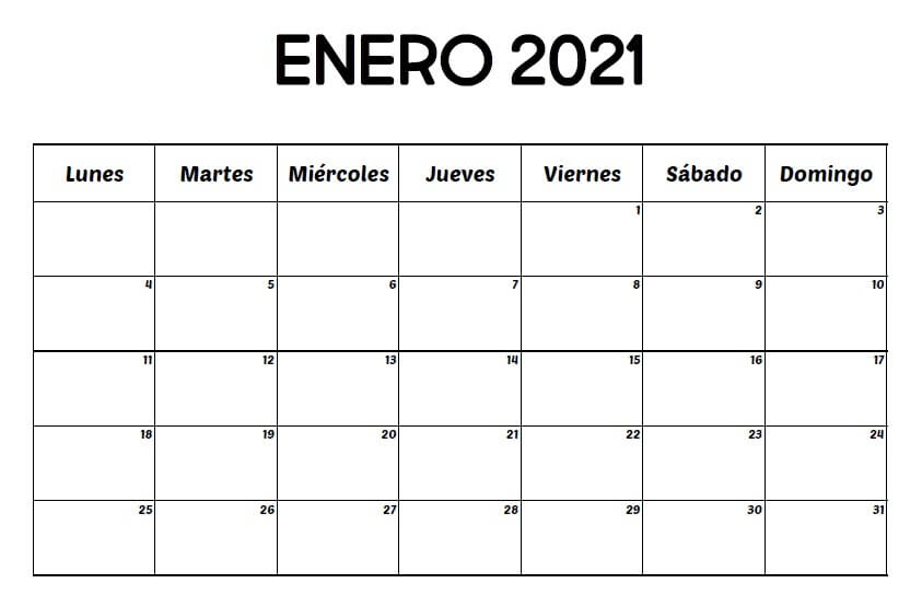 Calendario Enero 2021 chile