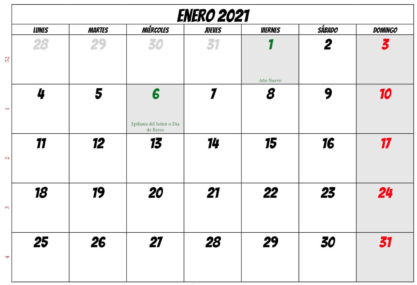Calendario Para Imprimir Enero 2021