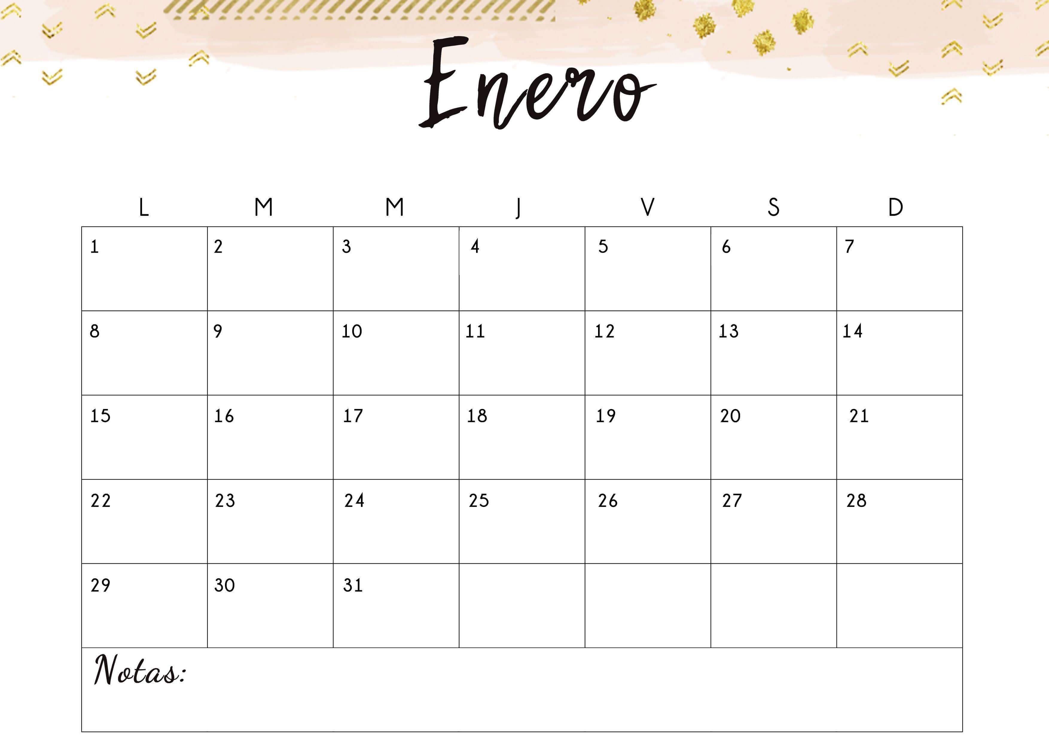 Calendario de Enero de 2021 en Blanco