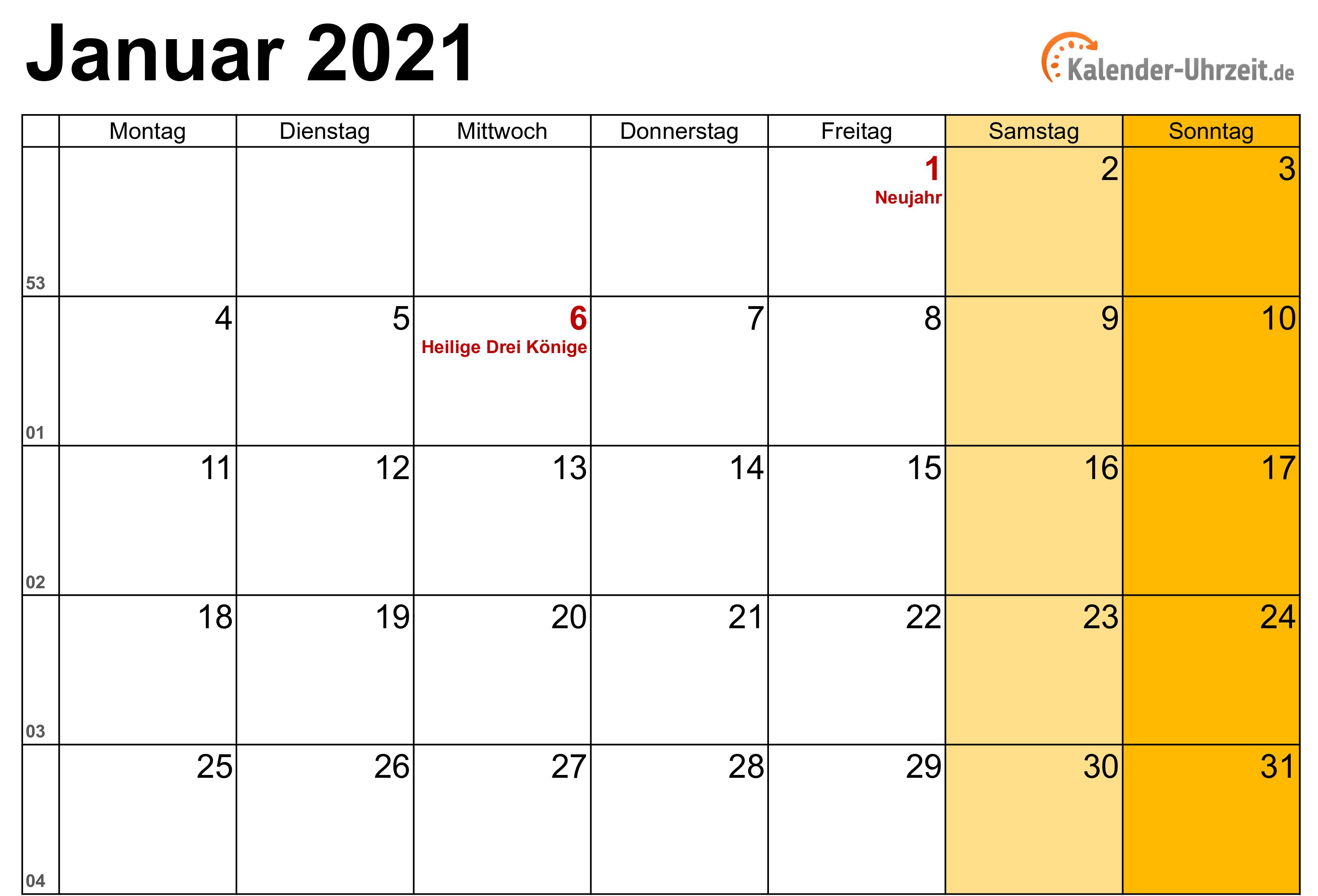 Januar 2021 Kalender mit Feiertagen