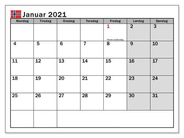 Kalender Januar 2021 Norge
