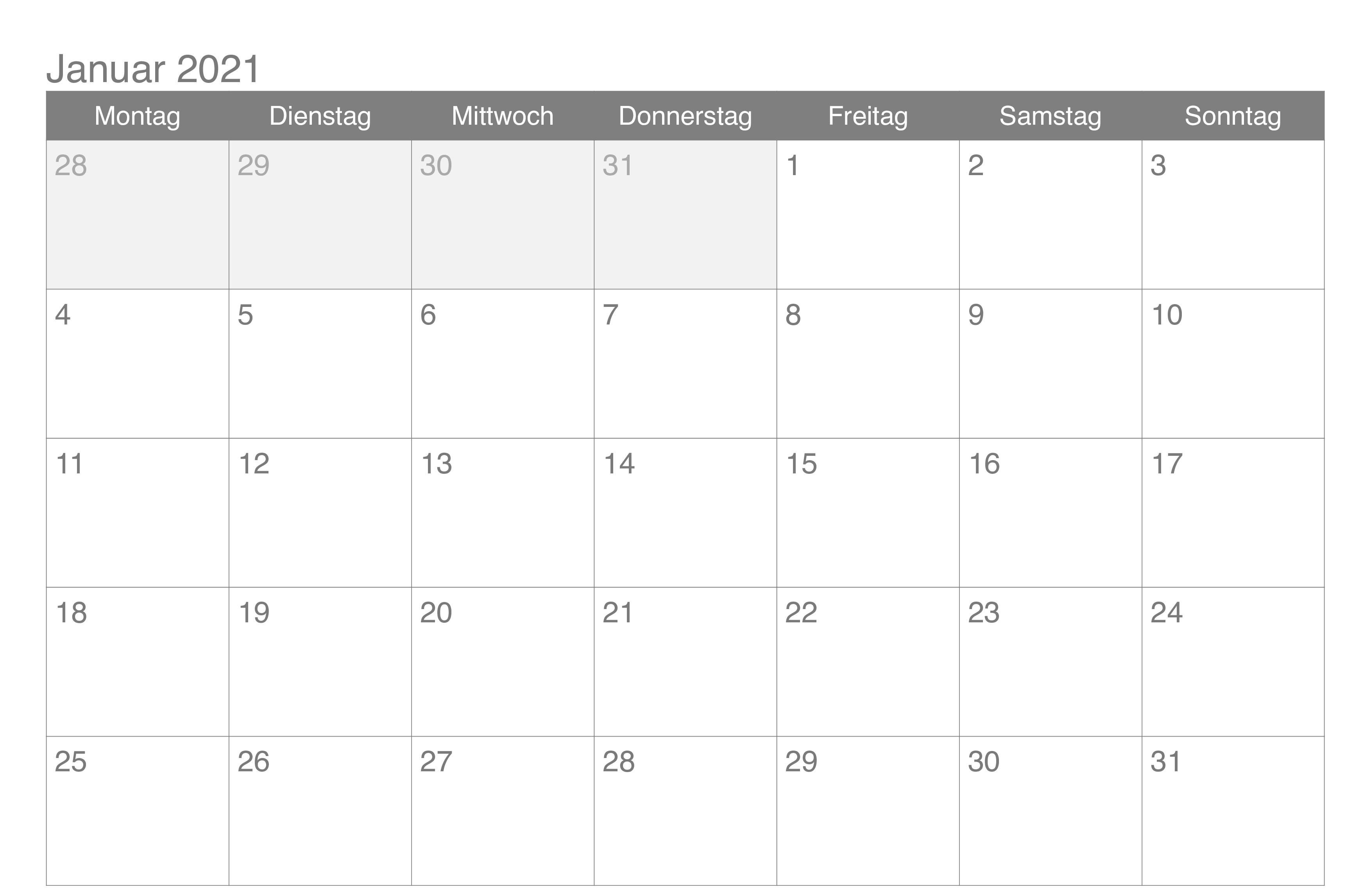 Kalender Januar 2021 zum Ausdrucken