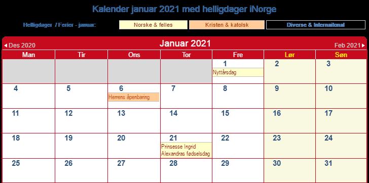 Norge Kalender Januar 2021