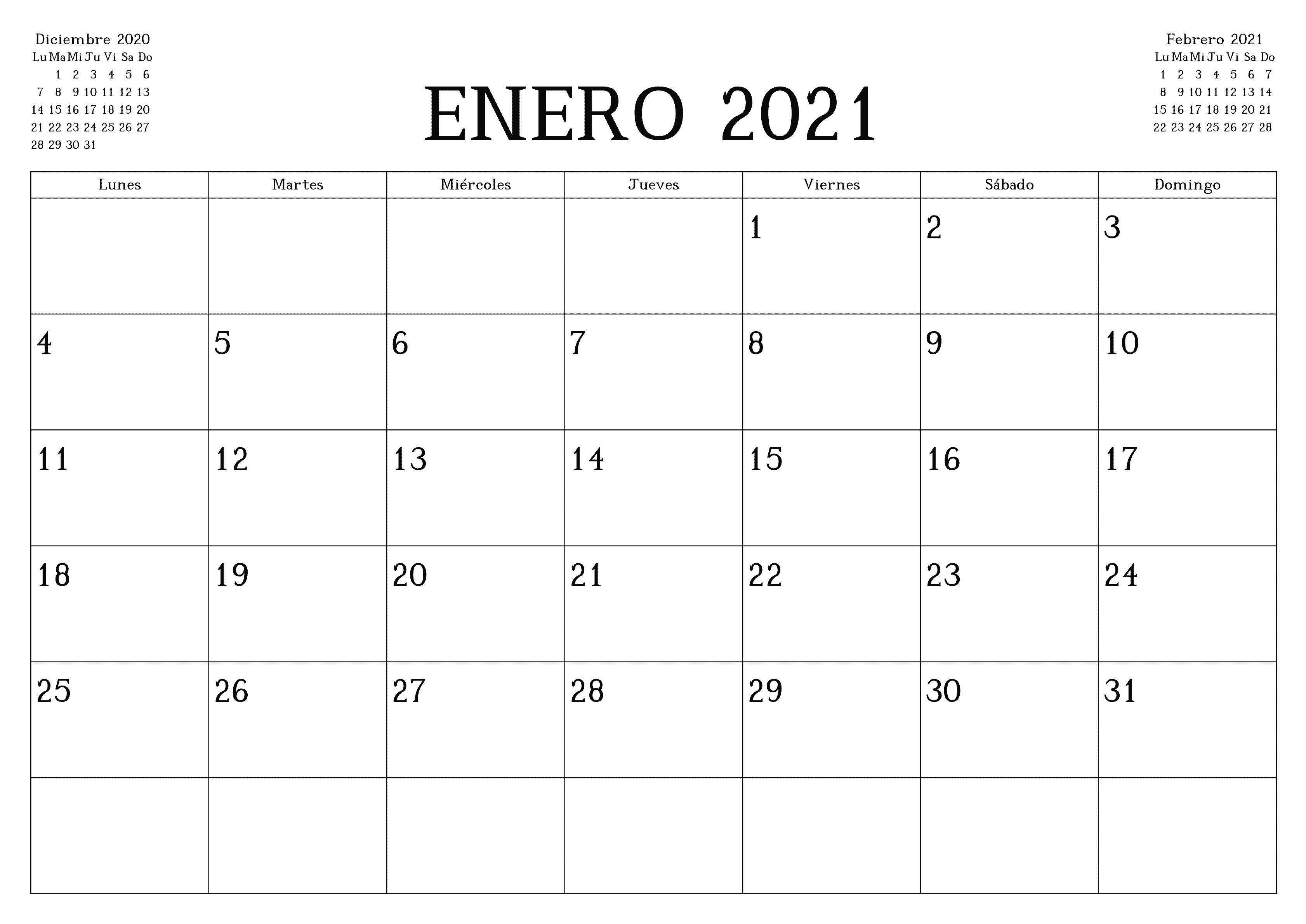 Plantilla Imprimible de Calendario Enero 2021
