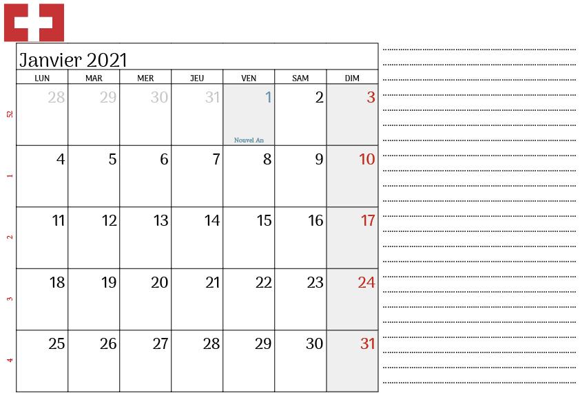 Télécharger Calendrier janvier 2021 Suisse