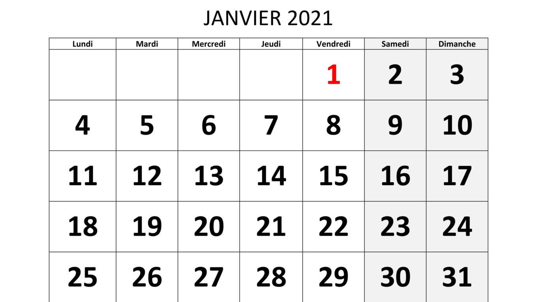 calendrier janvier 2021 à imprimer