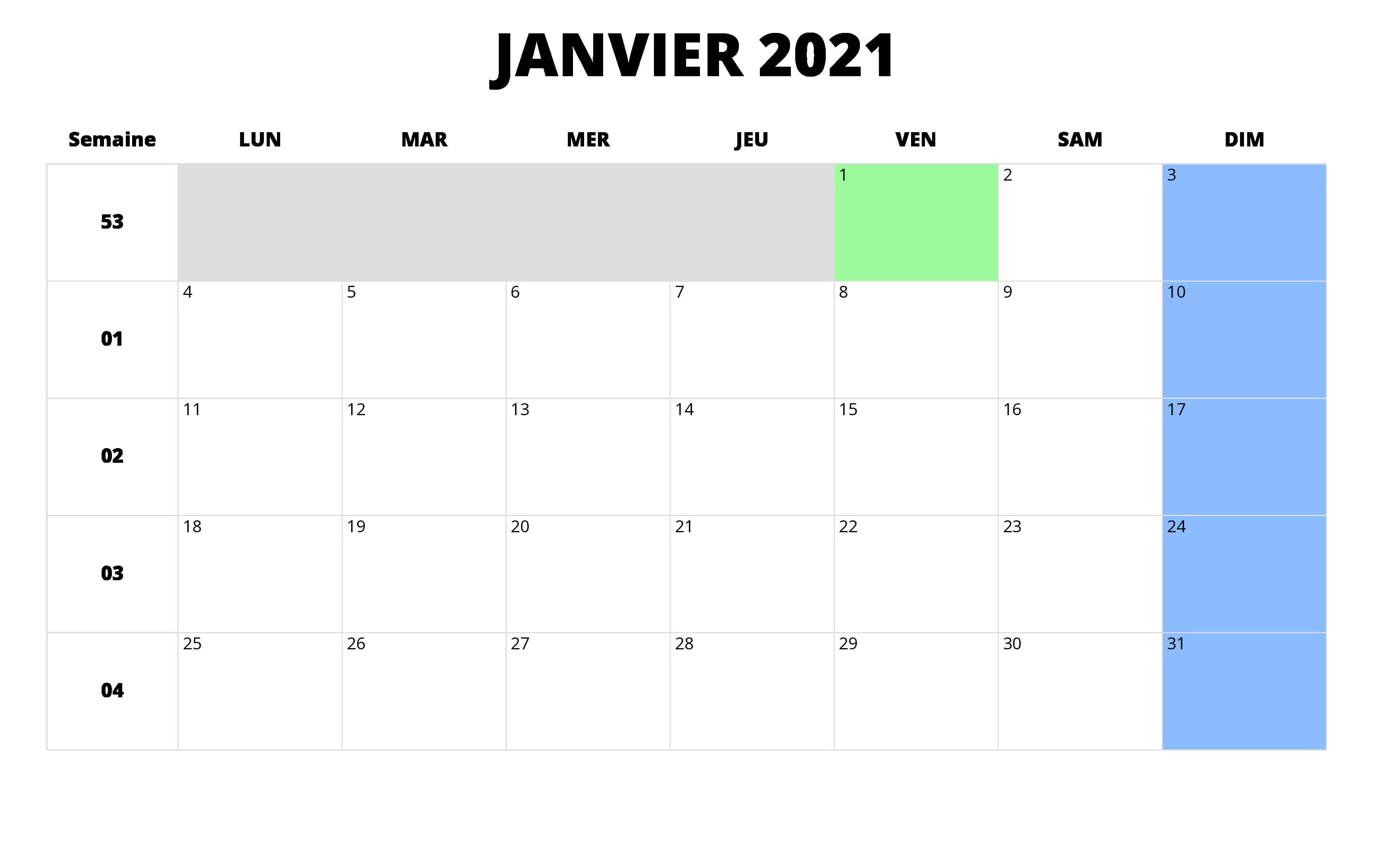 calendrier janvier 2021 à imprimer gratuit
