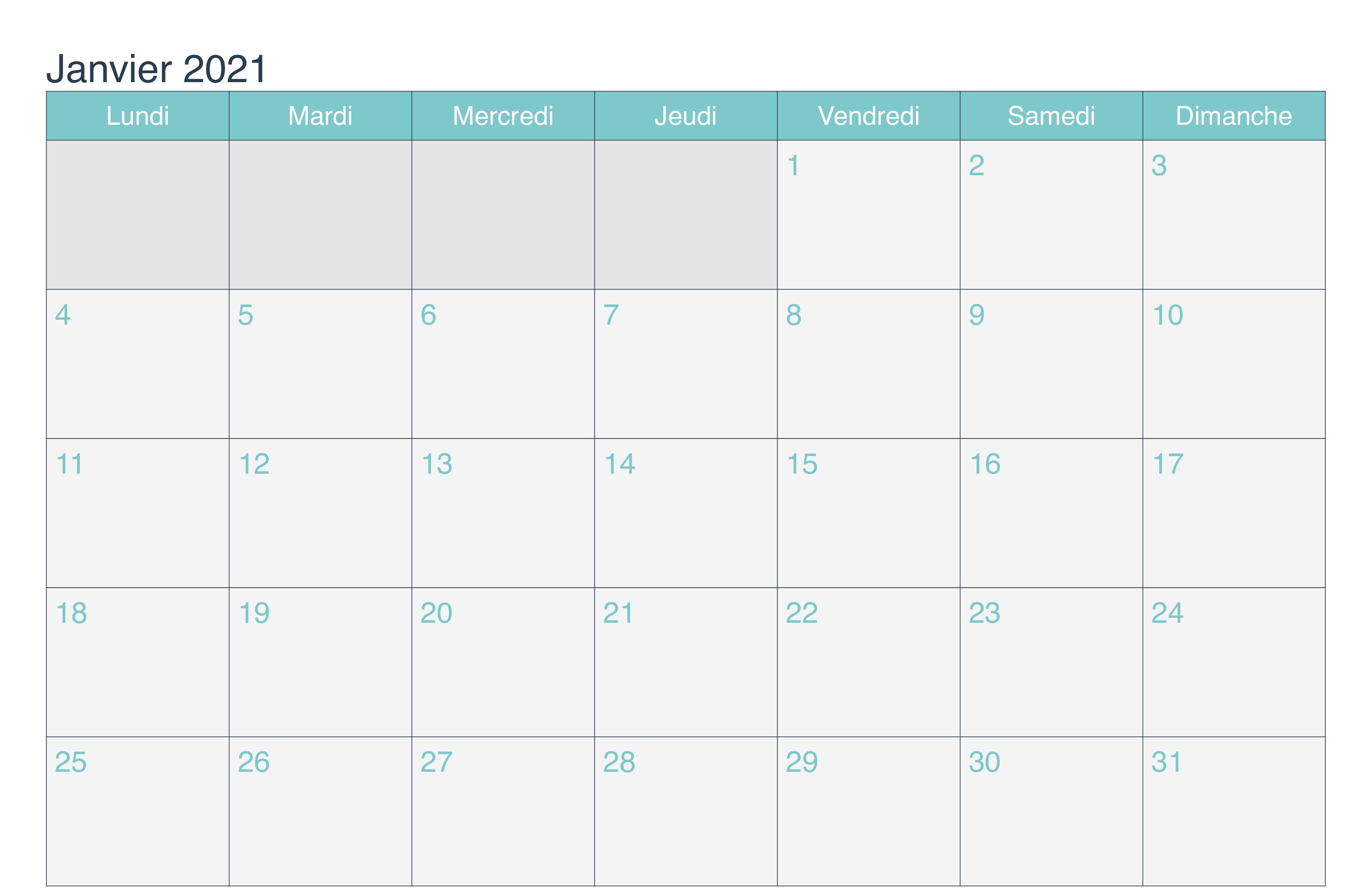 calendrier janvier 2021 Excel