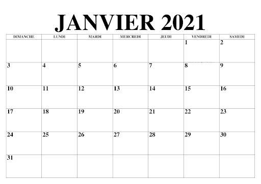 calendrier janvier 2021 PDF